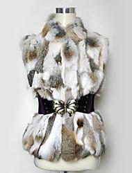 chaleco de piel con mangas de pie cuello de piel de conejo partido / chaleco casual con cinturón de azar