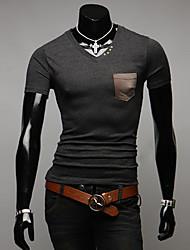 INMUR Uomo girocollo ricamo manica corta T Shirt