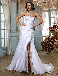 Mermaid / Trumpet Sweetheart Sweep / Brush Train Organza Wedding Dress by LAN TING BRIDE®