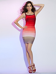 Cocktail Party/Holiday Dress - Multi-color Sheath/Column Straps Short/Mini Rayon