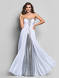 Formal Evening / Military Ball Dress - White Plus Sizes / Petite Sheath/Column Sweetheart Floor-length Chiffon / Sequined