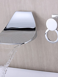 Diseño Contemporáneo de pared Cascada Chrome Finish Curve Boquilla Grifo baño