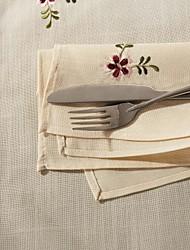 Set di 6 ricami floreali in poliestere misto cotone tovagliolo