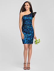 Knee-length Lace/Stretch Satin Bridesmaid Dress - Ocean Blue Plus Sizes Sheath/Column One Shoulder