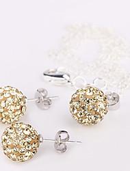 10mm boule de cristal Boucles d'oreilles Bijoux Collier Set No.1