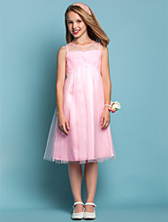 Lanting Bride® Knee-length Tulle Junior Bridesmaid Dress A-line / Sheath / Column Jewel Natural with Criss Cross