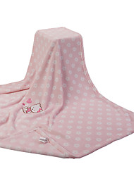 Pink Cat Coral Fleece with Embroidery Baby Blanket