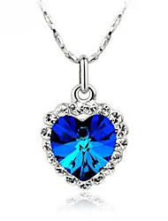 Melocotón del modelo del corazón colgante collar de Madou Princess Mujer (Royal Blue)