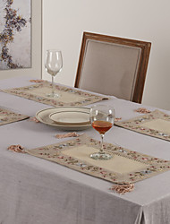 Beige Polyester Rectangulaire Sets de table