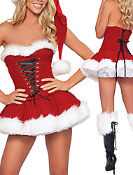 Pretty Women Santa Claus Red Velvet Dress Christmas Costumes