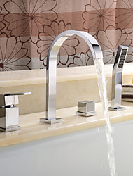 Contemporary Roman Tub Widespread with  Ceramic Valve Two Handles Four Holes for  Chrome , Bathtub Faucet