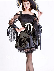 pirate sombre robe de dentelle noire avec Halloween costumefor carnaval de chapeau des femmes