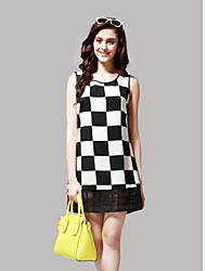Women's Check-Board Organza Splicing Mini Dress