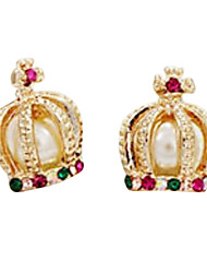 European and American jewelry French court and aristocracy pearl cross diamond crown earrings E419