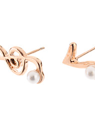 Rose Gold Music Note Pearl 1Stud Orecchini