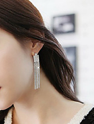 Feliz de venta de joyería elegante y generoso versión coreana de una larga borla llena de pendientes de diamantes E520 E521