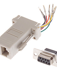 DB9 Male to RJ-12 Female Modular Adaptor White