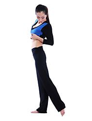 Women'S cotoon Elasthan Halbarm Atmungsaktivität Yoga-Anzug (schwarz Top + Hose Schwarz)