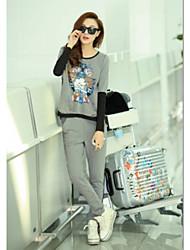 FANS JANE Casual camiseta manga larga y pantalones Set (patrón aleatorio y color)