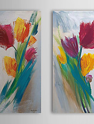 Hand Painted Oil Painting Floral with Stretched Frame Set of 2 1309C-FL0841
