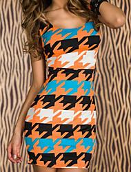 Women's Blue Paper Print Mini Dress