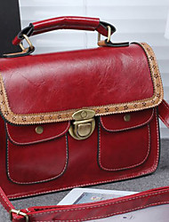 LAKE Women's Retro Buckles& Pockets Decorated Handbag Wine Red
