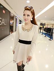 De Mulheres Sequin Collar Contraste cintura plissados Mini Vestido