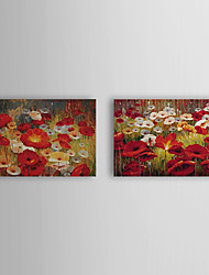 Hand Painted Oil Painting Floral Popies with Stretched Frame Set of 2 1309C-FL0856