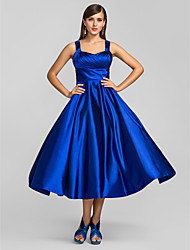 Homecoming Prom/Homecoming/Cocktail Party Dress - Royal Blue Plus Sizes A-line/Princess Straps Tea-length Stretch Satin