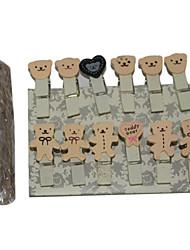 Little Bear Hemp Rope Wooden Photo Clip (12 PCS)