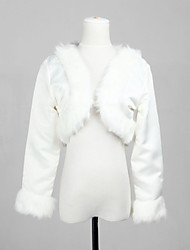 Elegant Long Sleeve Satin And Faux Fur Bridal Wedding Wrap/Evening Jacket Bolero Shrug