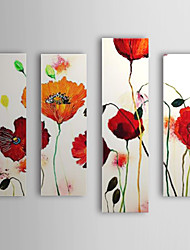 Hand Painted Oil Painting Floral Red Flower with Stretched Frame Set of 4 1309-FL0982