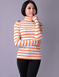 KARORINLAN Frauen High Neck Stripe Fleece Sweater