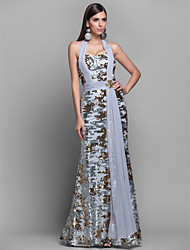 Formal Evening / Military Ball Dress Sheath / Column Halter Floor-length Jersey with Crystal Detailing / Draping / Ruching