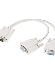 VGA Male to 2xVGA Female Cable White for Computer Laptop HD Screen(0.3M)