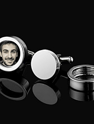 Gift Groomsman Silver Photo Frame Cufflinks