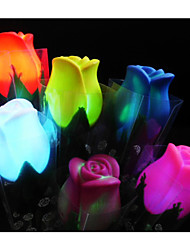 Colorful LED Flashing Roses With Leaves -Set of 4(More Colors)