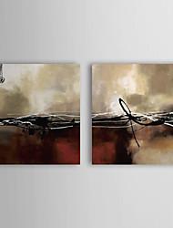 Pintado à Mão Pintura a óleo com moldura abstracta esticado Conjunto de 2 1309-AB0977
