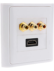 Hallo-Def HDMI V1.3 + Component Female Video Wall Plate