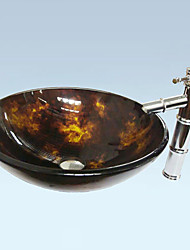 Antique Round Tempered Glass Bathroom Sink Set (Bathroom Sink and Faucet)