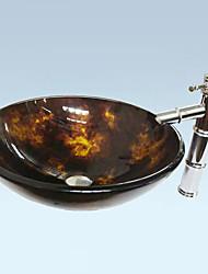Antique Runde gehärtetes Glas Waschbecken Set (Waschbecken und Wasserhahn)
