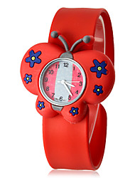 Children's 3D Butterfly Shape Silicone Band Quartz Analog Slap Wrist Watch