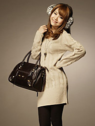 SOAR New Style V Collar Slubbed Slim Long Sweater(Cream)