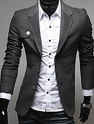 INMUR Men's Fashion Dark Gray Stand Collar One Button Suits