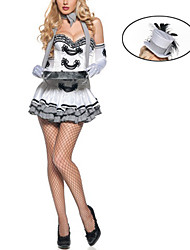 Hotel Sexy Girl branco e cinza Maid Uniform