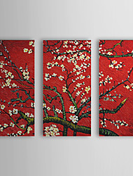 Hand Painted Oil Painting Floral Plum Bloom with Stretched Frame Set of 3 1309C-FL0829