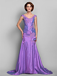 Dress Trumpet / Mermaid V-neck Sweep / Brush Train Taffeta with Appliques / Beading / Criss Cross