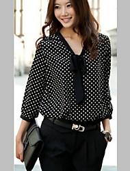 Women's V Neck Cute Chiffon Polka Dots Long Sleeve Shirt