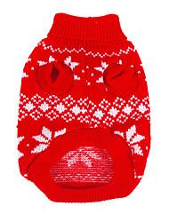 Hunde Pullover Rot Winter Schneeflocke Weihnachten / Neujahr