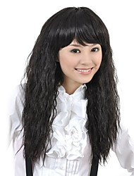 Capless High Quality Synthetic Long Wavy Black Fluffy Hair Wigs